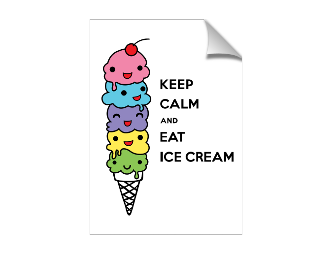 Mysoti Andi Bird Keep Calm And Eat Ice Cream Print