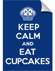 Keep Calm and Eat Cupcakes navy print