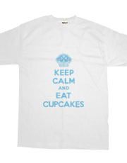 Keep Calm and Eat Cupcakes blue t
