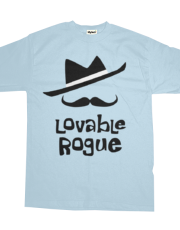 Lovable roque graphic hat and mustache (dashing and unchaste probably)