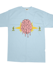 Toy soldiers melting a brain with lasers - funny vector illustration