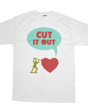 Cut it out - funny vector illustration with toy soldier, typography, and heart in green red and blue