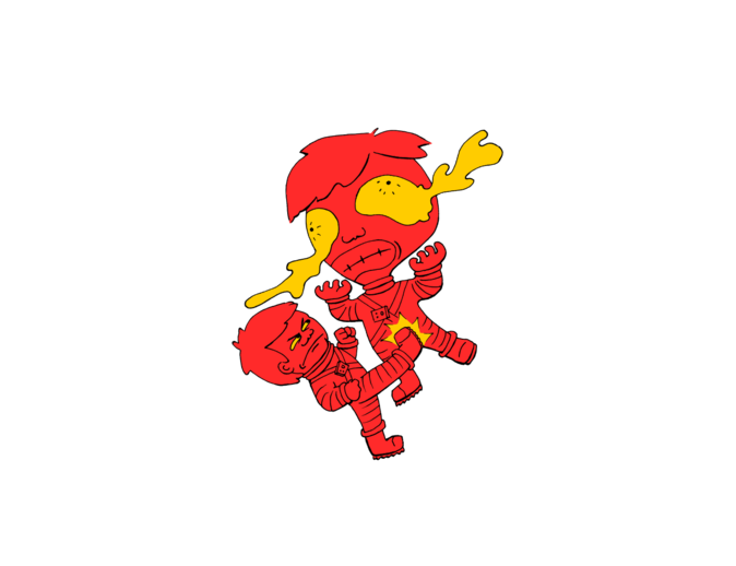 Astronaut getting kicked because the world needs this -- funny cartoon drawing in red and yellow