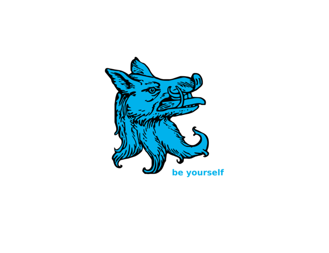 wolf head - cyan - be yourself
