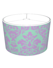 African Violet & Grayed Jade Damask Lampshade