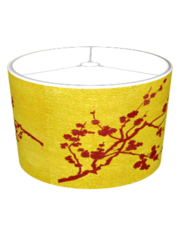 Red cherry blossoms on gold