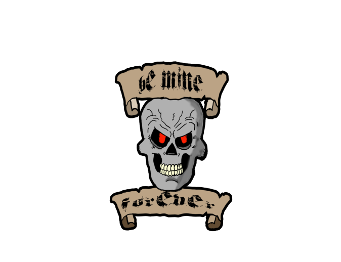 Be Mine Forever Skull and Scrolls