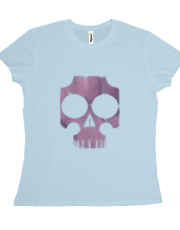 severely distressed pink and violet skull