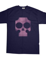 distressed stylized pink and violet skull