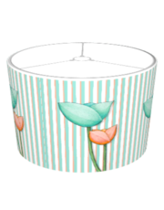 Simple Flowers teal orange Stripes Lampshade