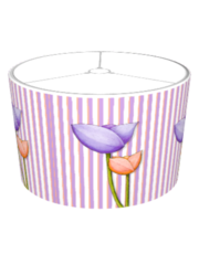 Simple Flowers purple orange Stripes Lampshade