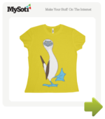 Blue-footed booby tee by HenriekeG. Available from MySoti.com.