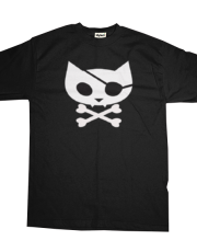 Hooker Kitten Men's Tee (Pirate Kitty) in black hookerkitten.com
