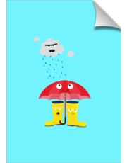 Raincloud, rubber boots and umbrella