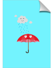 Rain cloud and umbrella