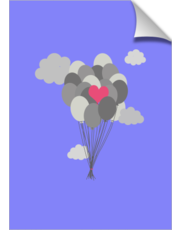heart balloon between gray ballons