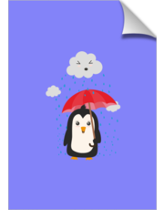 Penguin in the rain