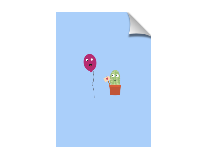 Cactus in love with balloon