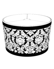 Black & White Damask with Trim Lampshade