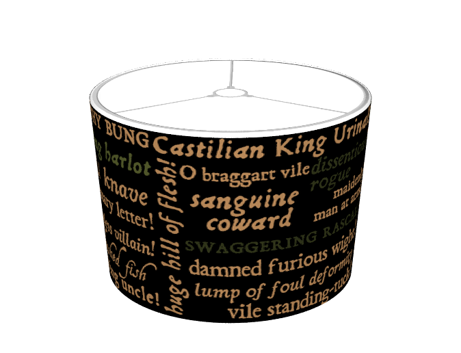 Shakespeare's Insults Collection (Black) Lampshade