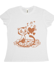Valentine Cat and Bird Musical Hearts