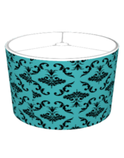 Teal And Black Damask