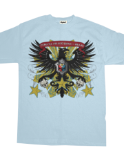 Grunge Medieval Eagle, Philippine Flag Skull - Light Blue T-shirt