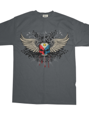 Grunge Skull and Wings Philippine Flag