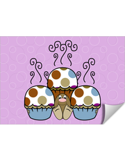 Cute Monster With Blue And Brown Polkadot Cupcakes