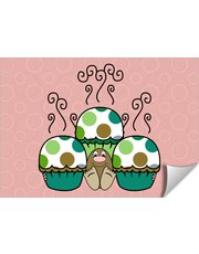 Cute Monster With Green And Brown Polkadot Cupcakes