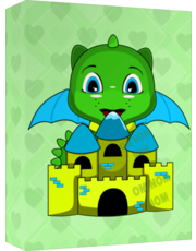 Chibi Dragon With A Blue And Yellow Castle