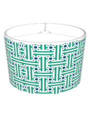 Green And Blue Chinese Fret Pattern Lamp Shades