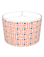 Chinese Fret Pattern Orange And Blue Lamp Shades