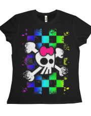 Checker Rainbow Girly Skull