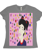 I Love Candy T-shirt-Black Hair Variation