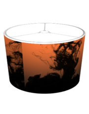 Black Liquid Ink on Orange Lampshade