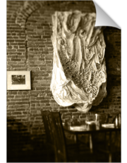 Farmer's Cafe Brick Wall and Draped Wall Hanging Vintage Style Black and White Photograph