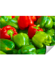 Green and Red Bell Peppers Tilt Shift Photograph