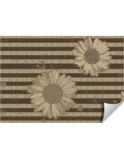Beige Daisies on Striped Background